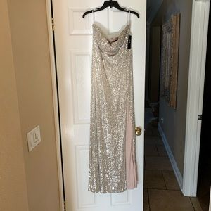 Lulus high leg sequin champagne silver maxi dress